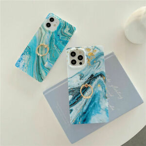 Square Marble Phone Case Cover For iPhone 12 11 Pro 7 8 + XS XR With Ring Holder