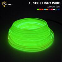 LED EL Luz de Alambre Cuerda Tira De Luz NeóN Plano Con Una DecoracióN USB 2/5M