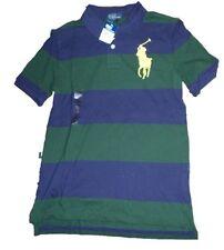 RALPH LAUREN garçon 18 ans rayé vert bleu marine Big Pony POLO SHIRT auth BNWT