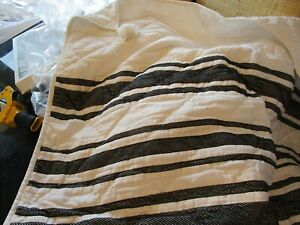 Pottery Barn Mesa Striped Handcrafted Cotton Quilt black King New wo tags