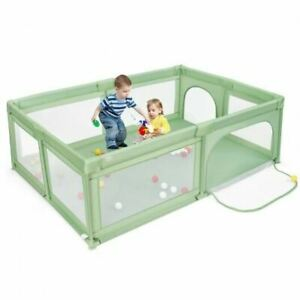 Durable Extra-Large Safety Baby Fence w/50 Ocean Balls-Green