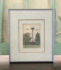 Henk Brinkman Hand Colored Etching of Seattle's Space Needle, Framed Vintage Art
