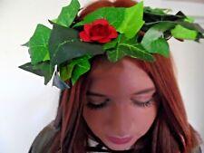 IVY/SILK FLOWER HAIR GARLAND/RIBBON/ HEAD DRESS BRIDAL/FESTIVAL/BURGUNDY boho