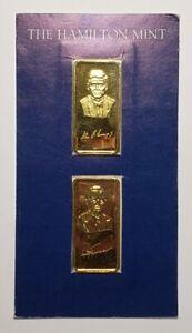 Vintage 1oz .999 Silver Gold Plate Bar Hamilton Mint Kennedy Truman Presidents