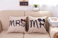 Cotton Linen MR & MRS mickey Pillow Case Cushion Cover Home sofa pillowslip