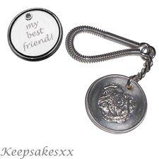 Pug DOG Tag UK Disc KEYRING Key Chain in Pewter plus Personalised Engraving