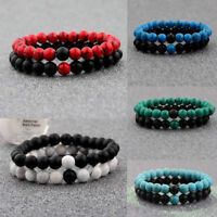 2x Distance Bracelets Lovers Couples Matching Gift Matte Agate 8mm Bead Stone JT