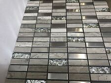 Grey Stone Rectangle Mix Mosaic Tiles 30x30 cm Sheet