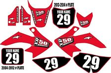 2004-2016 HONDA CRF 50 Graphics Kit Custom Number Plates Red XR50.com