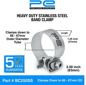 """Exhaust Band Clamp 2.5"""" Inch 63mm (66-67mm) Heavy Duty Stainless Steel Clamp"""