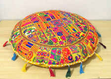"32"" Round Floor Cushion Pillow Cover Indian Handmade Embroidered Patchwork Throw"