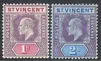 St Vincent 1904 purple/carmine 1d purple/blue 2/- multi-crown CA mint SG86/91