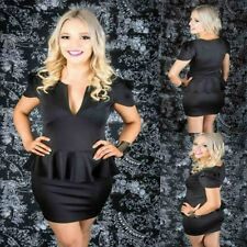 Sz 12 14 Black Peplum Cap Sleeve Sexy Formal Gown Party Wear Cocktail Club Dress