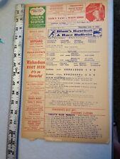 1944 Blum's Baseball & Race Bulletin Has teams listed Baltimore New York