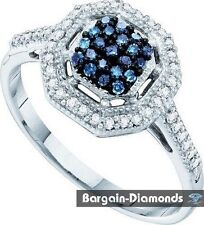 blue diamond 10K gold engagement right-hand cocktail ring .25-carats anniversary