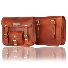 Panniers 2 Bags Stylish Motorcycle Saddlebags Side Nice Shape Leather 2 Pouch