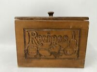 """Vintage Wooden Recipes Divided File Box w/Lid Carved on the Front 6 7/8"""" W"""