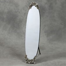 OVAL FRAME LESS CHEVAL MIRROR WITH BUTTERFLY METALLIC CRESTING DETAIL