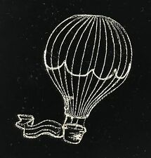 EMBROIDERED Champagne on BLACK Silk Velvet Fabric - Hot Air Balloon