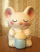 Mouse Piggy Bank Coin Blushing White Pink Blue Baby Bottle Nursery