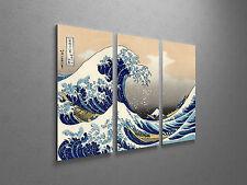"Japanese Art Hokusai Great Wave Off Kanagawa Stretched Canvas Triptych. 48""x30"""