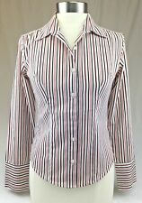 Kommotion NY Fitted Shirt Women's Size Small Stretch Blouse Pinstripes White Red