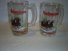 2 VTG Budweiser Clydesdales Glass Mug Anheuser-Busch Beer Holiday Christmas