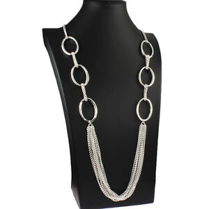 Lagenlook costume jewellery silver colour long draping oval link chain necklace