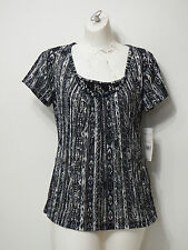 Woman Top Rebecca Malone Small Grey/Charcoal Short Sleeve Shirt Laced piece neck