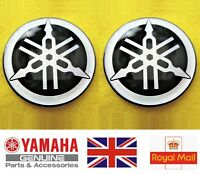 2 x YAMAHA TUNING FORK R1 R6 R7 DOMED EPOXY RESIN LOGO EMBLEM STICKER DECAL 45MM