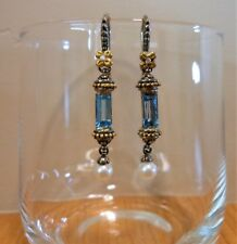 BARBARA BIXBY Earring RARE Blue Topaz Pearl Sterling SS 18K Gold Couture Diamond