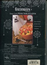 "Halloween Collection Easy Care PEVA Tablecloth Whimsical Pumpkin 60"" Round"