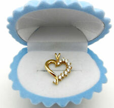 Solid 14k Yellow Gold HEART Man Made Diamond Charm Pendant