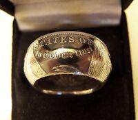 """1878-21 Morgan  Silver Dollar Coin Ring  Handmade Band """"Tails"""" 8 - 15 No Stone"""
