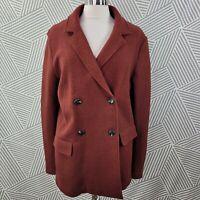 Rachel Zoe size Large Wool Cardigan Sweater Jacket felted Boucle Rust Red orange