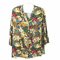 Vintage Amy Adams Womens Sz 2X Card Game Print Top Button Front Blouse  J
