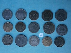 15 verschiedene Notgeldmünzen 1917- 1920 Kriegsgeld 1. Weltkrieg Lot 1