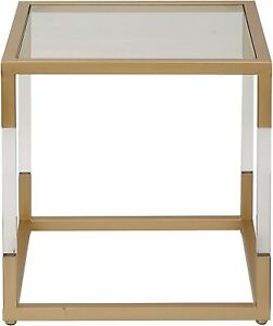 """Benzara Antique Colonial Functional Metal Glass Acrylic End Table 20"""" H x 19""""..."""
