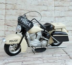 Handcrafted Detailed Harley Davidson Police Policeman Motorcycle Black &White NR
