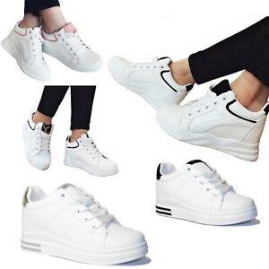 SCARPE Donna Sneakers Sportive Ginnastica Rialzo INTERNO Zeppa 7 cm D39