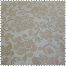 Floral Flower Raised Velvet Feel Design Pattern Beige Upholstery Material Fabric