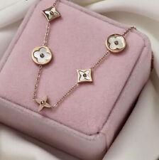 18K Rose Gold Plated Clover Flower Bracelet Jewellery Mother Of Pearl