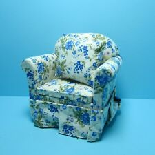 Dollhouse Miniature Arm Chair with Pillow in Blue Floral Design ~ T6533