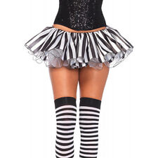 Black White Pin Stripe Clown Joker Satin Tutu Layer Skirt Halloween Costume Sexy