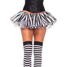 Black White Pin Stripe Clown Joker Satin Tutu Layer Skirt Halloween Costume Sexy