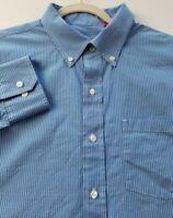 Izod Men's Long Sleeve Button Up Shirt XXL 2XL Blue White Plaid Pocket Casual