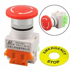 Red Mushroom Cap 1NO 1NC DPST Emergency Stop Push Button Switch AC 660V 10A
