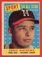 1958 Topps #480 Eddie Mathews VG-VGEX MARKED HOF Milwaukee Braves FREE SHIPPING