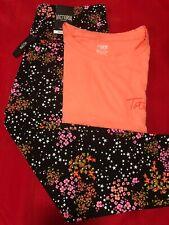 VS Victoria's Secret Floral 7/8 Tight Leggings PINK Shirt Tee Set