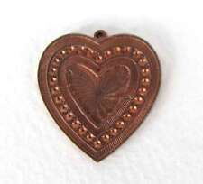 Vintage Heart Pendant Solid Brass Charm Metal Finding Copper Color 26mm